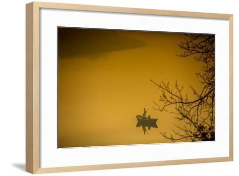 Sunrise over a Boat on the Taj Mahal Lake, Agra, Uttar Pradesh, India, Asia-Laura Grier-Framed Art Print