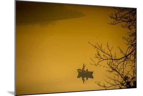 Sunrise over a Boat on the Taj Mahal Lake, Agra, Uttar Pradesh, India, Asia-Laura Grier-Mounted Photographic Print