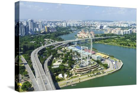 High View over Singapore with the Singapore Flyer Ferris Wheel and Ecp Expressway, Singapore-Fraser Hall-Stretched Canvas Print