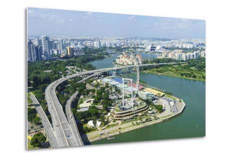 High View over Singapore with the Singapore Flyer Ferris Wheel and Ecp Expressway, Singapore-Fraser Hall-Metal Print