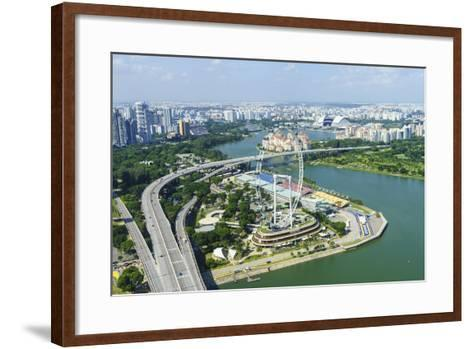 High View over Singapore with the Singapore Flyer Ferris Wheel and Ecp Expressway, Singapore-Fraser Hall-Framed Art Print