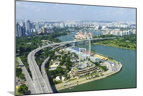 High View over Singapore with the Singapore Flyer Ferris Wheel and Ecp Expressway, Singapore-Fraser Hall-Mounted Photographic Print