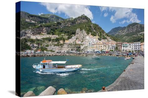 Amalfi from Harbour, Amalfi, Costiera Amalfitana (Amalfi Coast)-Frank Fell-Stretched Canvas Print