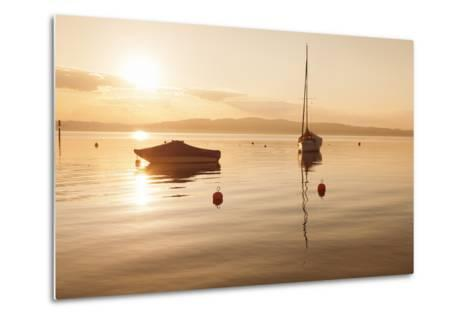 Sailing Boat at Sunset, Lake Constance, Near Konstanz, Baden-Wurttemberg, Germany, Europe-Markus Lange-Metal Print