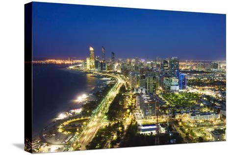 Skyline and Corniche, Al Markaziyah District by Night, Abu Dhabi, United Arab Emirates, Middle East-Fraser Hall-Stretched Canvas Print