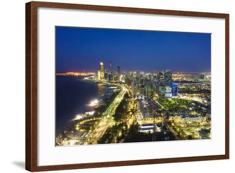 Skyline and Corniche, Al Markaziyah District by Night, Abu Dhabi, United Arab Emirates, Middle East-Fraser Hall-Framed Art Print