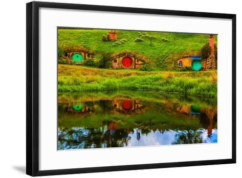 Hobbit Houses, Hobbiton, North Island, New Zealand, Pacific-Laura Grier-Framed Art Print