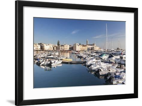 View over the Harbour to San Nicola Pellegrino Cathedral, Trani, Le Murge-Markus Lange-Framed Art Print