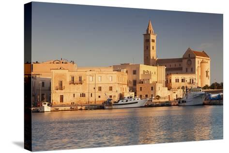 San Nicola Pellegrino Cathedral, at Sunrise, Harbour, Trani, Le Murge-Markus Lange-Stretched Canvas Print