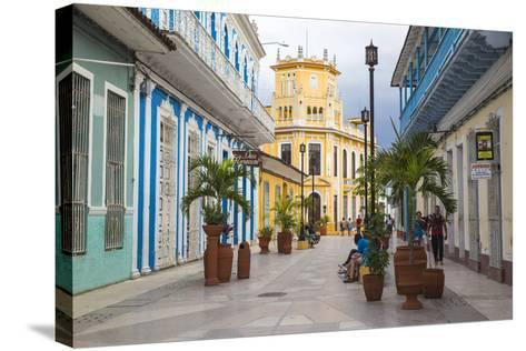 Calle Independencia Sur, Pedestrian Shopping Street, Leading to Colonia Espanola Building-Jane Sweeney-Stretched Canvas Print