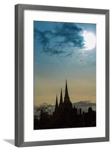 Silhouetted Chedis (Stupas), Ayutthaya, UNESCO World Heritage Site, Thailand, Southeast Asia, Asia-Alex Robinson-Framed Art Print