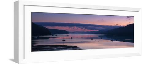 Panorama of Queen Charlotte Sound at Dawn with Pink Sky and Anchored Boats, Okiwa Bay-Garry Ridsdale-Framed Art Print