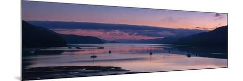 Panorama of Queen Charlotte Sound at Dawn with Pink Sky and Anchored Boats, Okiwa Bay-Garry Ridsdale-Mounted Photographic Print