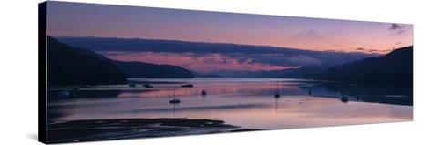 Panorama of Queen Charlotte Sound at Dawn with Pink Sky and Anchored Boats, Okiwa Bay-Garry Ridsdale-Stretched Canvas Print