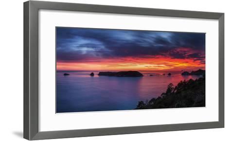 A Fiery Dawn Sky Breaks Beyond the Islands Off the Coromandel Peninsula, Waikato, North Island-Garry Ridsdale-Framed Art Print