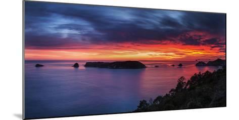 A Fiery Dawn Sky Breaks Beyond the Islands Off the Coromandel Peninsula, Waikato, North Island-Garry Ridsdale-Mounted Photographic Print