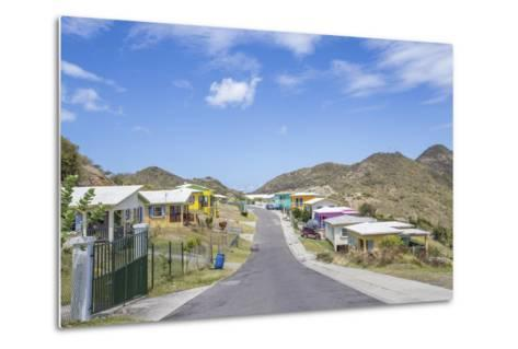 Colorful Houses of a Village on a Spring Sunny Day, Montserrat, Leeward Islands-Roberto Moiola-Metal Print