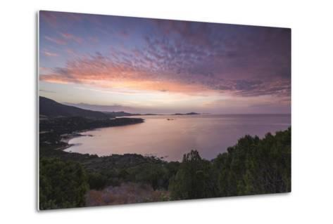 The Colors of Sunrise are Reflected on the Sea around the Beach of Solanas, Villasimius, Cagliari-Roberto Moiola-Metal Print