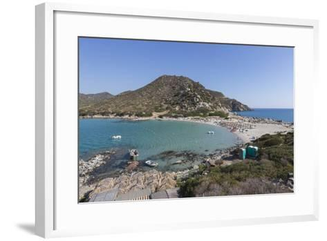Top View of the Bay with Turquoise Sea and the Sandy Beach, Punta Molentis, Villasimius-Roberto Moiola-Framed Art Print