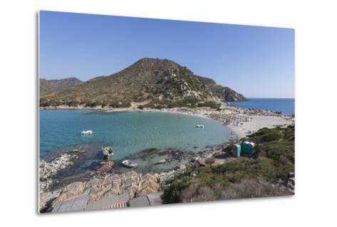Top View of the Bay with Turquoise Sea and the Sandy Beach, Punta Molentis, Villasimius-Roberto Moiola-Metal Print
