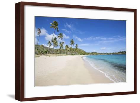 The Long Beach Surrounded by Palm Trees and the Caribbean Sea, Morris Bay, Antigua and Barbuda-Roberto Moiola-Framed Art Print