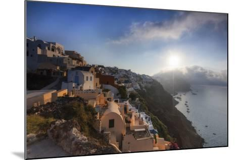 Sunbeam Through the Clouds over the Aegean Sea Seen from the Typical Village of Oia, Santorini-Roberto Moiola-Mounted Photographic Print
