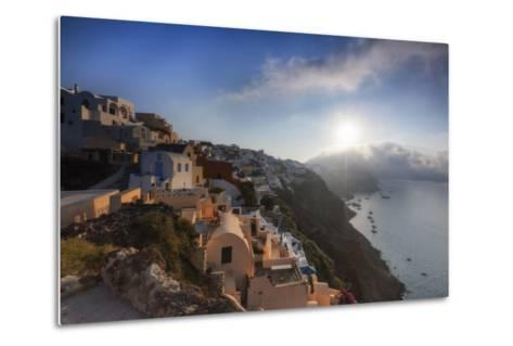 Sunbeam Through the Clouds over the Aegean Sea Seen from the Typical Village of Oia, Santorini-Roberto Moiola-Metal Print