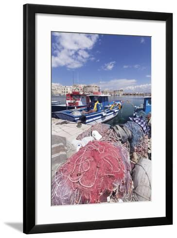 Fishing Boats at the Port, Old Town with Castle, Gallipoli, Lecce Province, Salentine Peninsula-Markus Lange-Framed Art Print