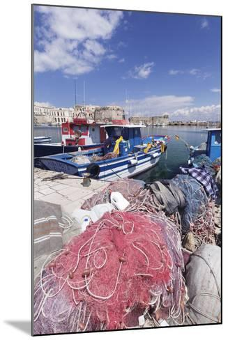 Fishing Boats at the Port, Old Town with Castle, Gallipoli, Lecce Province, Salentine Peninsula-Markus Lange-Mounted Photographic Print