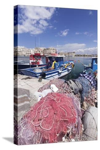 Fishing Boats at the Port, Old Town with Castle, Gallipoli, Lecce Province, Salentine Peninsula-Markus Lange-Stretched Canvas Print