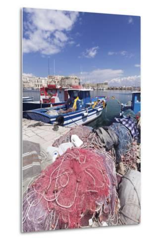 Fishing Boats at the Port, Old Town with Castle, Gallipoli, Lecce Province, Salentine Peninsula-Markus Lange-Metal Print