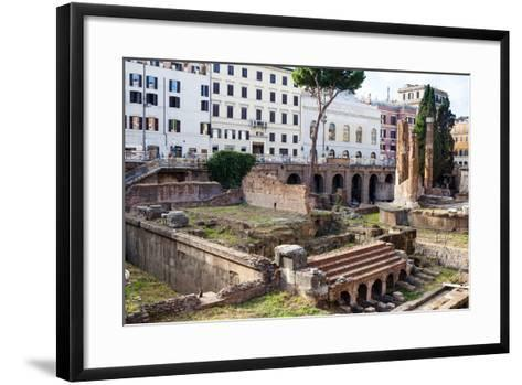 Ruins of Roman Temples at Area Sacra Di Largo Di Torre Argentina, Rome, UNESCO World Heritage Site-Nico Tondini-Framed Art Print