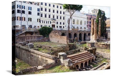 Ruins of Roman Temples at Area Sacra Di Largo Di Torre Argentina, Rome, UNESCO World Heritage Site-Nico Tondini-Stretched Canvas Print