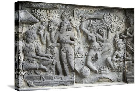 Hindu Carvings on the Prambanan Temples, UNESCO World Heritage Site, Near Yogyakarta-Alex Robinson-Stretched Canvas Print