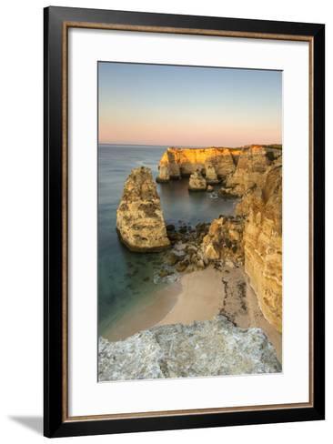 Sunrise on the Cliffs and Turquoise Water of the Ocean, Praia Da Marinha, Caramujeira-Roberto Moiola-Framed Art Print