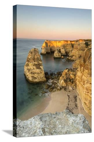 Sunrise on the Cliffs and Turquoise Water of the Ocean, Praia Da Marinha, Caramujeira-Roberto Moiola-Stretched Canvas Print