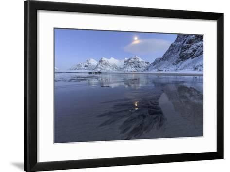 Full Moon Reflected in the Icy Sea around the Surreal Skagsanden Beach, Flakstad, Nordland County-Roberto Moiola-Framed Art Print