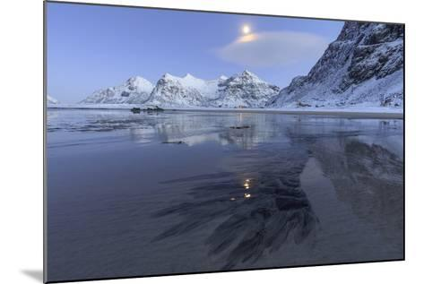 Full Moon Reflected in the Icy Sea around the Surreal Skagsanden Beach, Flakstad, Nordland County-Roberto Moiola-Mounted Photographic Print