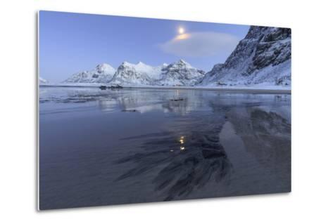 Full Moon Reflected in the Icy Sea around the Surreal Skagsanden Beach, Flakstad, Nordland County-Roberto Moiola-Metal Print