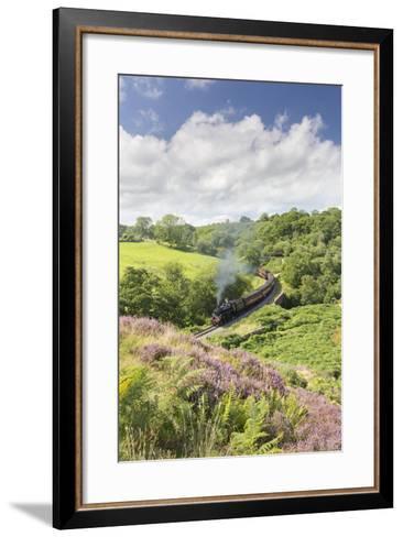 A Steam Locomotive Pulling Carriages Through Darnholme on North Yorkshire Steam Heritage Railway-John Potter-Framed Art Print