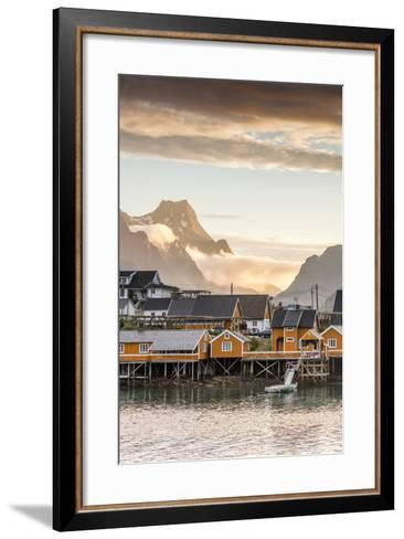 Sunset on the Fishing Village Framed by Rocky Peaks and Sea, Sakrisoya, Nordland County-Roberto Moiola-Framed Art Print