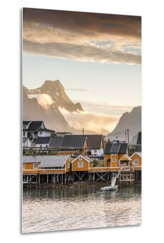Sunset on the Fishing Village Framed by Rocky Peaks and Sea, Sakrisoya, Nordland County-Roberto Moiola-Metal Print