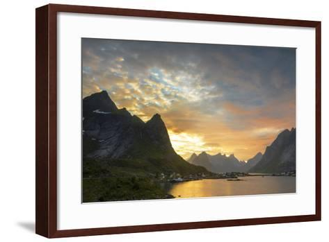 Sunset on the Fishing Village Surrounded by Rocky Peaks and Sea, Reine, Nordland County-Roberto Moiola-Framed Art Print