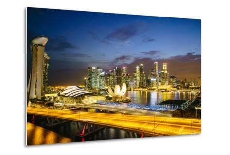Busy Roads Leading to the Marina Bay Sands-Fraser Hall-Metal Print
