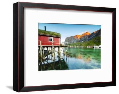 Typical House of Fishermen Called Rorbu Lit Up by Midnight Sun, Reine, Nordland County-Roberto Moiola-Framed Art Print