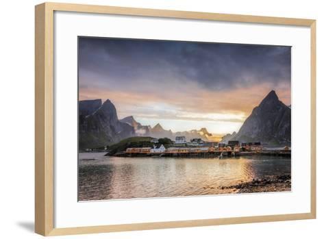 Sunset on the Fishing Village Framed by Rocky Peaks and Sea, Sakrisoya, Nordland County-Roberto Moiola-Framed Art Print