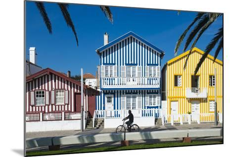 Colourful Stripes Decorate Traditional Beach House Style on Houses in Costa Nova, Portugal, Europe-Alex Treadway-Mounted Photographic Print