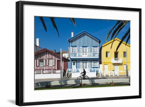 Colourful Stripes Decorate Traditional Beach House Style on Houses in Costa Nova, Portugal, Europe-Alex Treadway-Framed Art Print