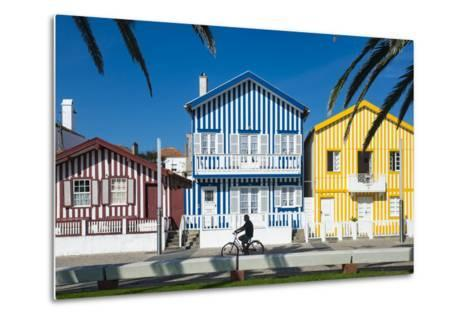 Colourful Stripes Decorate Traditional Beach House Style on Houses in Costa Nova, Portugal, Europe-Alex Treadway-Metal Print
