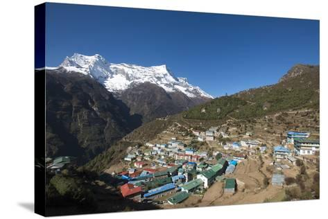 Namche, the Main Trading Centre and Tourist Hub for the Khumbu (Everest Region) with Kongde Ri Peak-Alex Treadway-Stretched Canvas Print